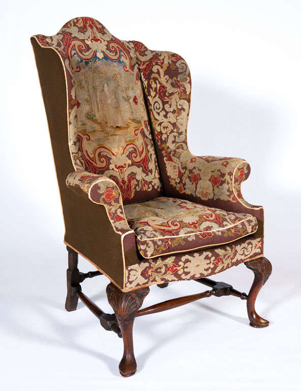 18th Century Queen Anne Walnut Wing Chair With Tapestry Covering
