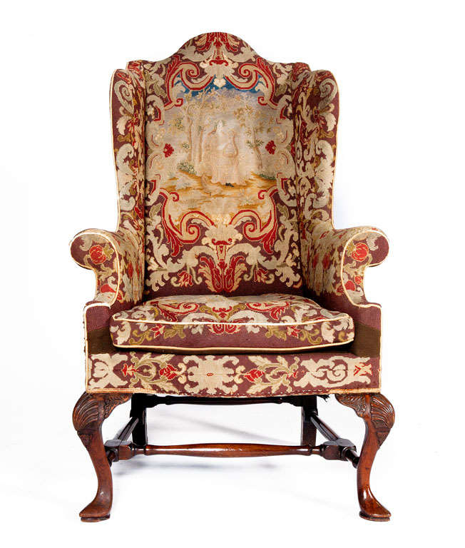 18th Century Queen Anne Walnut Wing Chair With Tapestry Covering 3 - 18th Century Queen Anne Walnut Wing Chair With Tapestry Covering