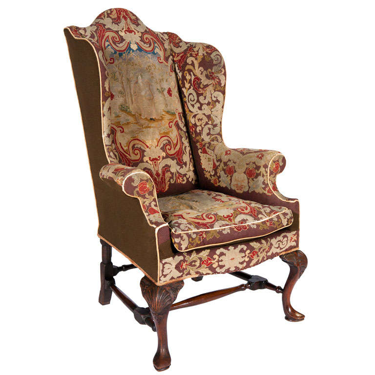 18th Century Queen Anne Walnut Wing Chair With Tapestry