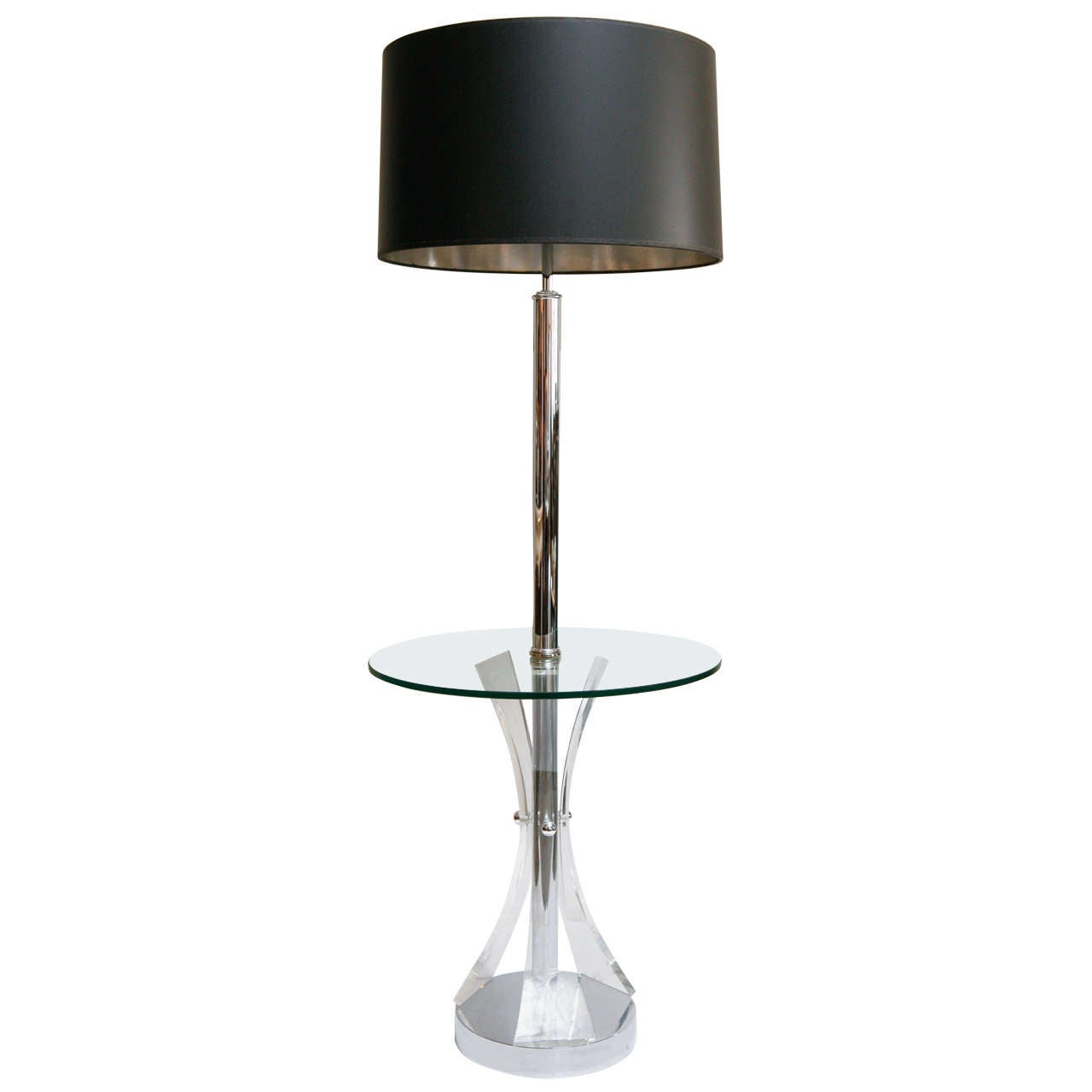 Mid Century Chrome And Lucite Floor Lamp For Sale