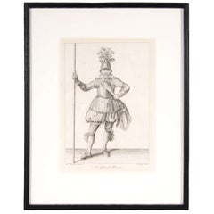 Antique Copper Engraving  of an Officer of Pikeman by Francis Grose