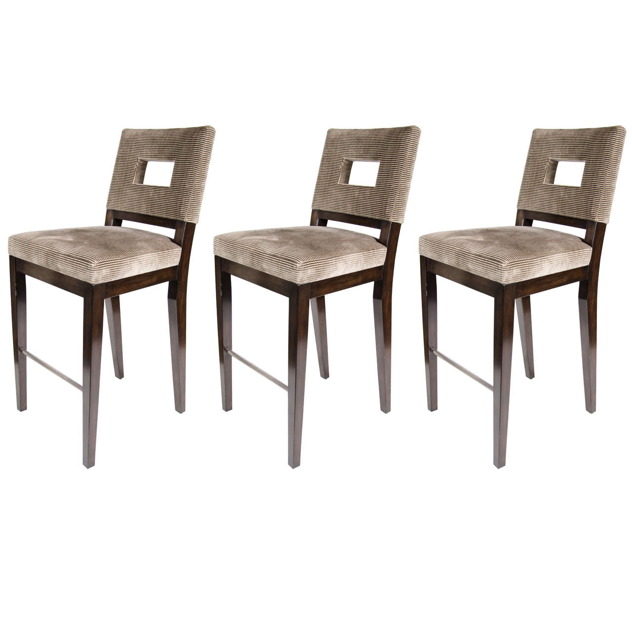 set of three mid century modern bar stools with cut out back design at 1stdibs. Black Bedroom Furniture Sets. Home Design Ideas