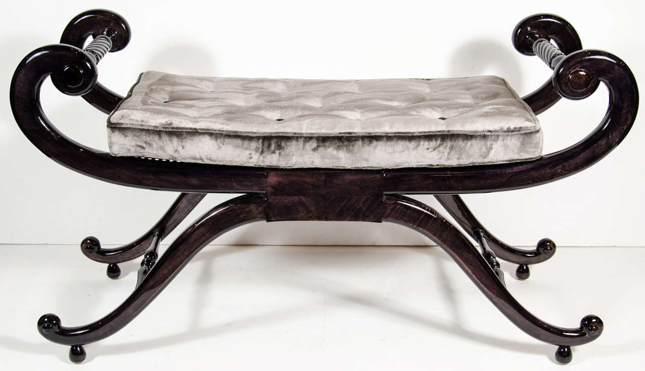 Ordinary Scroll Bench Part - 14: Elegant 1940s Hollywood Sleigh Bench With Scroll Arm Design 3