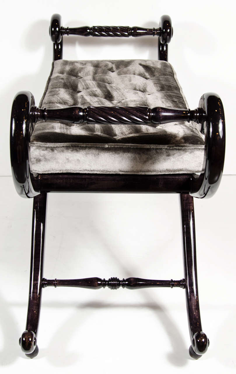 Elegant 1940s Hollywood Sleigh Bench With Scroll Arm Design At 1stdibs
