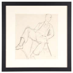 Art Deco Hungarian Cubist Drawing / Study of A Reclining Male