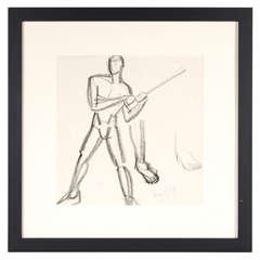 Art Deco Hungarian Cubist Drawing /Study  of Male Figure