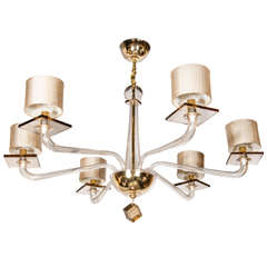 Elegant Six Arm Umber Murano Glass Chandelier by Andromeda