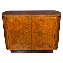 Mid-Century Burled Walnut Bar/Cabinet