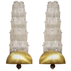 Pair of Wall Sconces by Seguso in Murano Glass