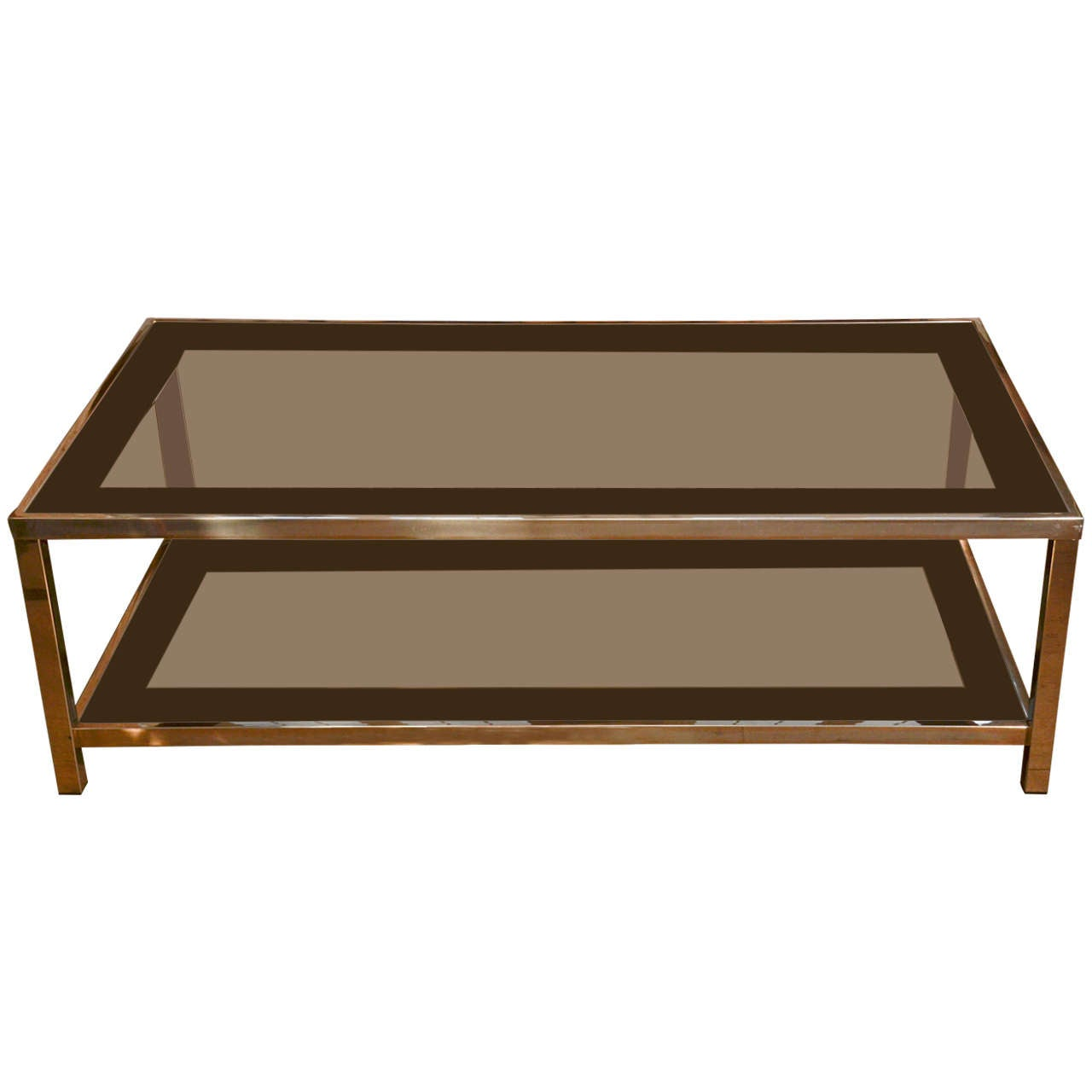 Gold Plated Coffee Table: Gold Plated Coffee Table In The Style Of Willy Rizzo At