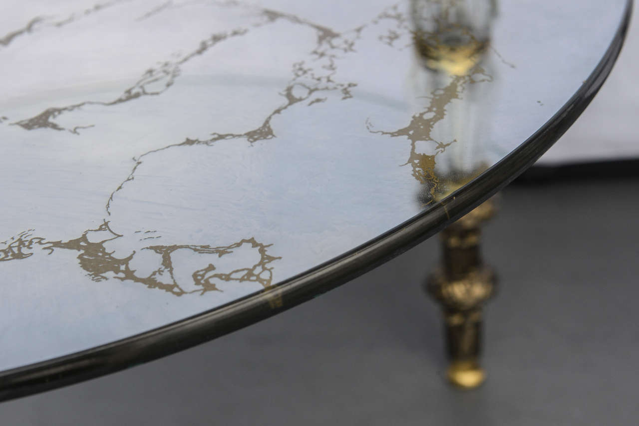 Brass Hollywood Regency, Goran Belgium Glass End Tables For Sale