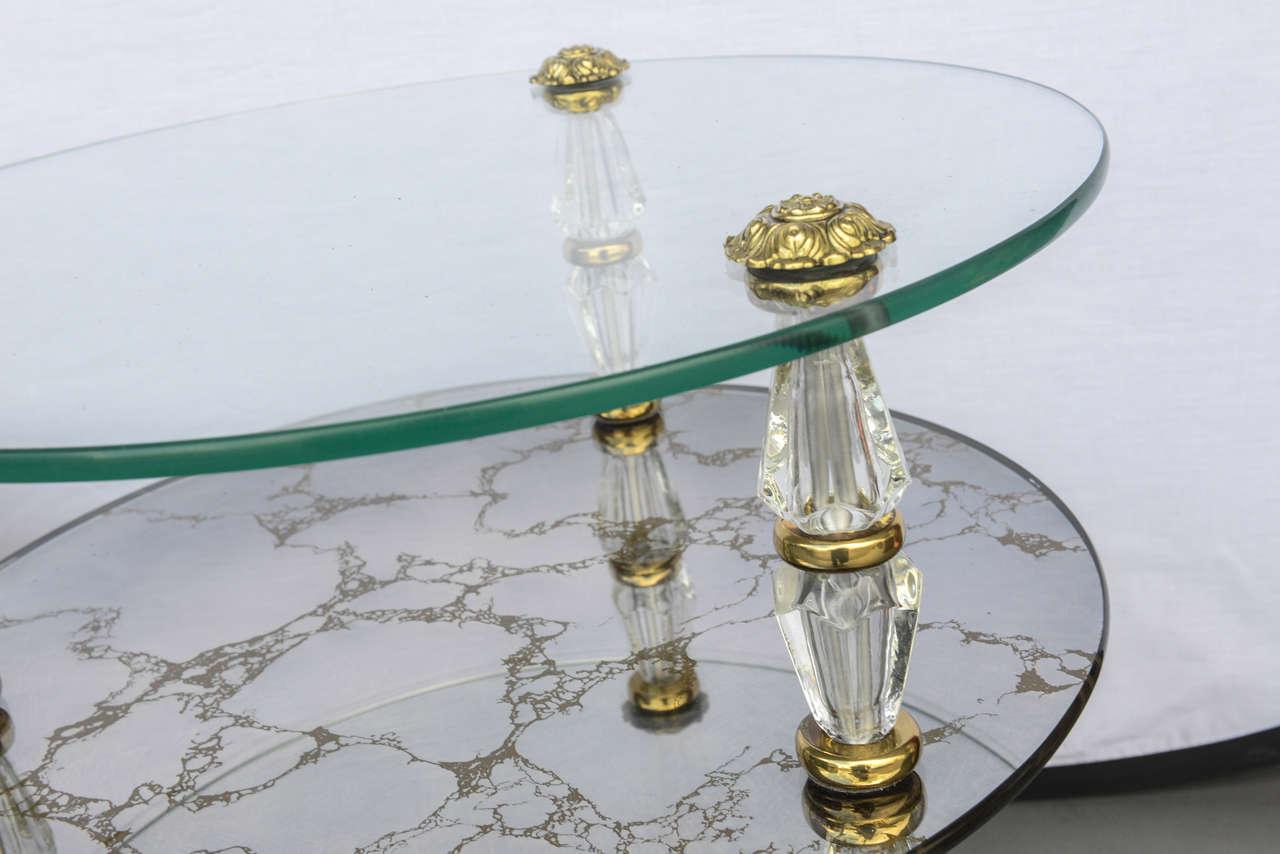 Hollywood Regency, Goran Belgium Glass End Tables For Sale 1