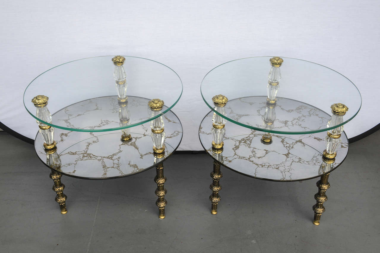 Hollywood Regency, Goran Belgium Glass End Tables For Sale 4