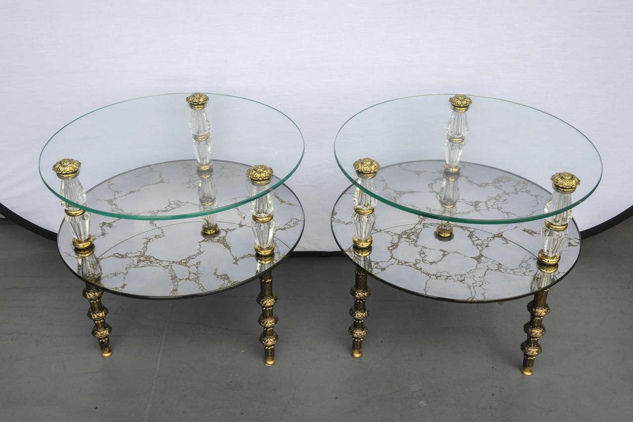 Hollywood Regency, Goran Belgium Glass End Tables For Sale 4