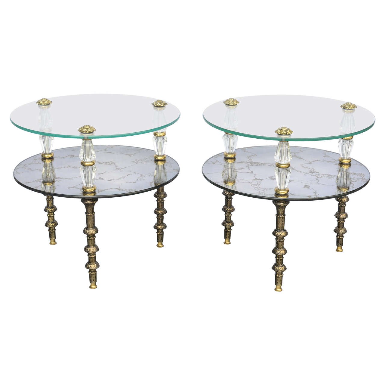 hollywood regency, goran belgium glass end tables for sale at 1stdibs