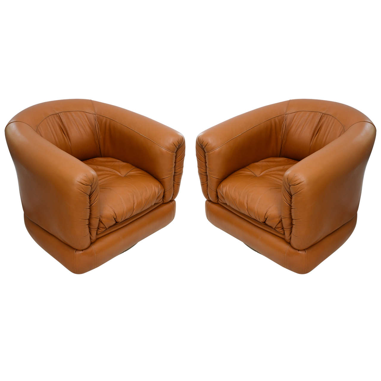 Pair of 1970s Brazilian Barrel Swivel Leather Chairs at