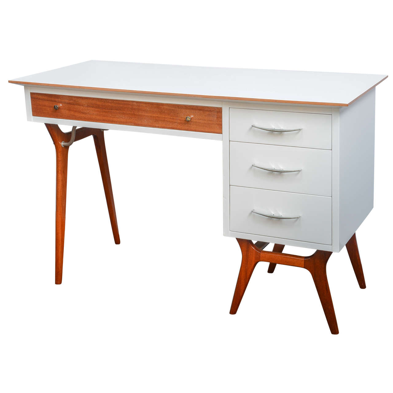 Mid-Century Teak and White Lacquered Desk by R-Way
