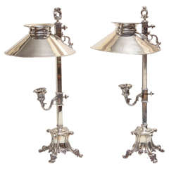 Pair of Royal Castle, Sheffield Silver-Plated Candle Lamps