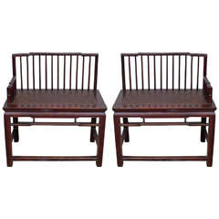 Pair of Rare 19th Century Chinese Spindle Back Benches