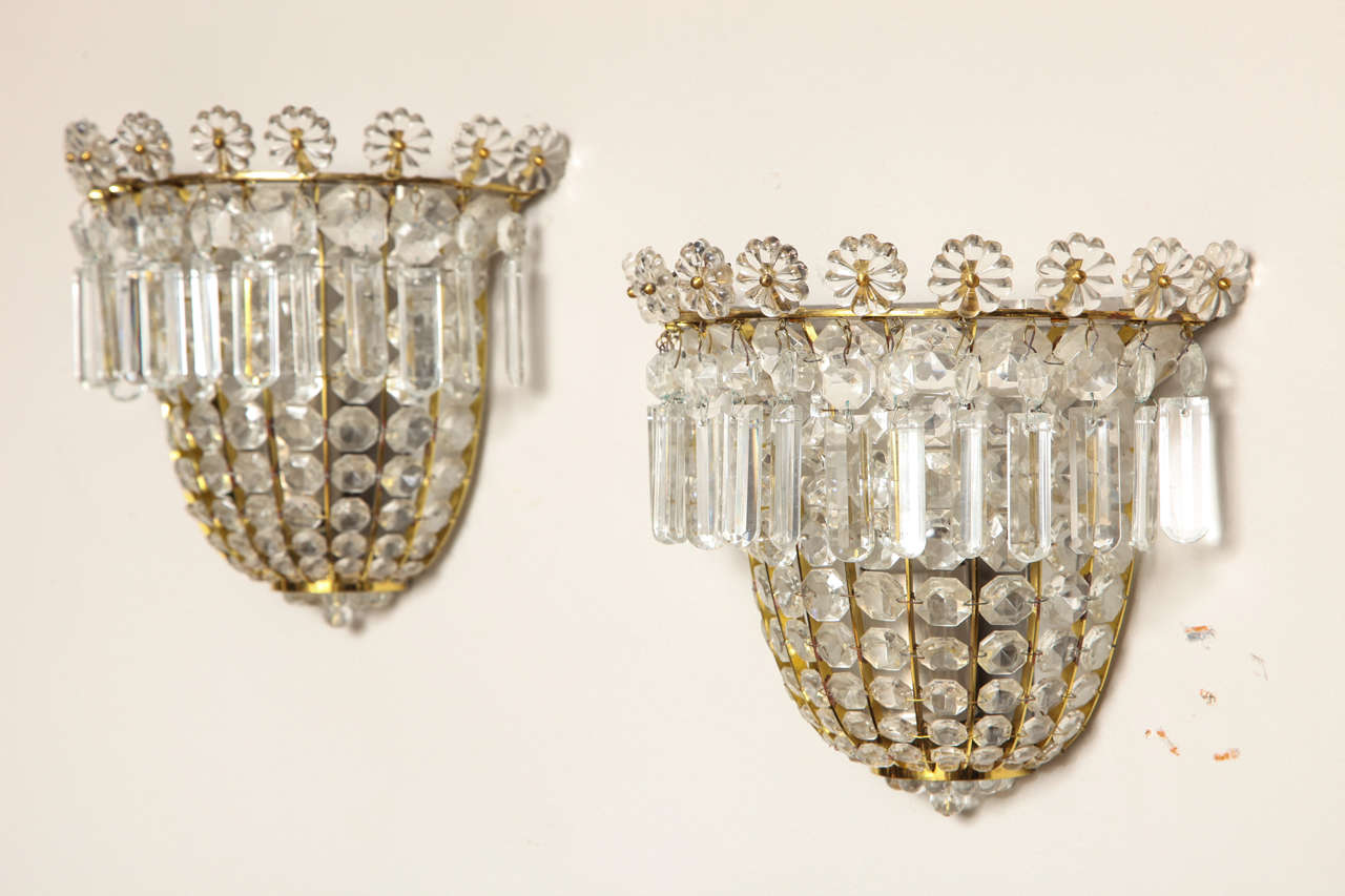 Beaded Crystal Wall Sconces : Pair of Bagues Style Crystal Beaded Wall Sconces For Sale at 1stdibs