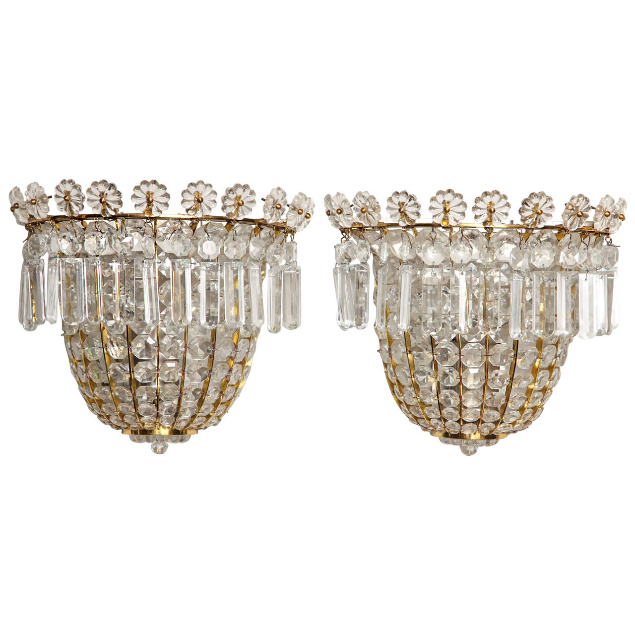 Beaded Crystal Wall Sconces : A Pair of Bagues Style Crystal Beaded Wall Sconces at 1stdibs