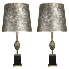 Pair of Silver Tone and Black Marble Lamps