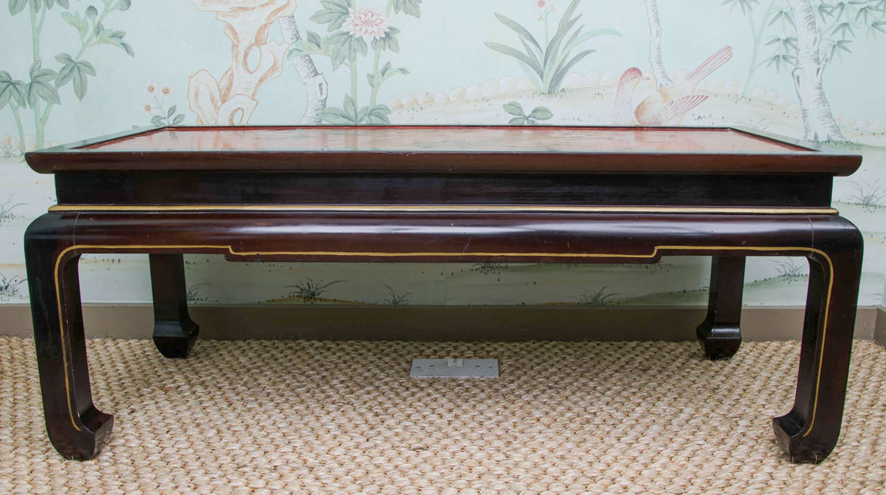 Charming Red Chinoiserie Lacquer Coffee Table For 1