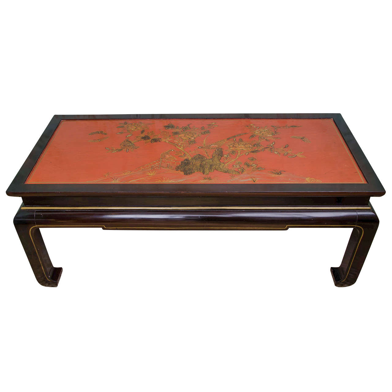 Charming red chinoiserie lacquer coffee table at 1stdibs for Lacquer coffee table