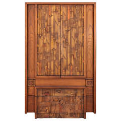 Brutalist Armoire in the Style of Paul Evans