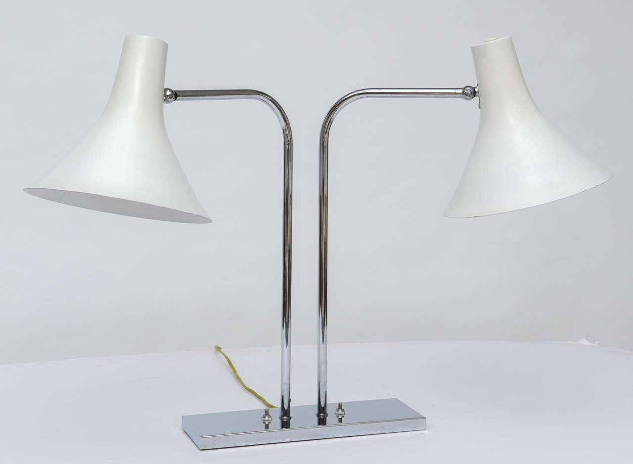 Mid-Century Modern 1960's Nessen Studios Polished Chrome and White Enamel Double Arm Desk Lamp For Sale