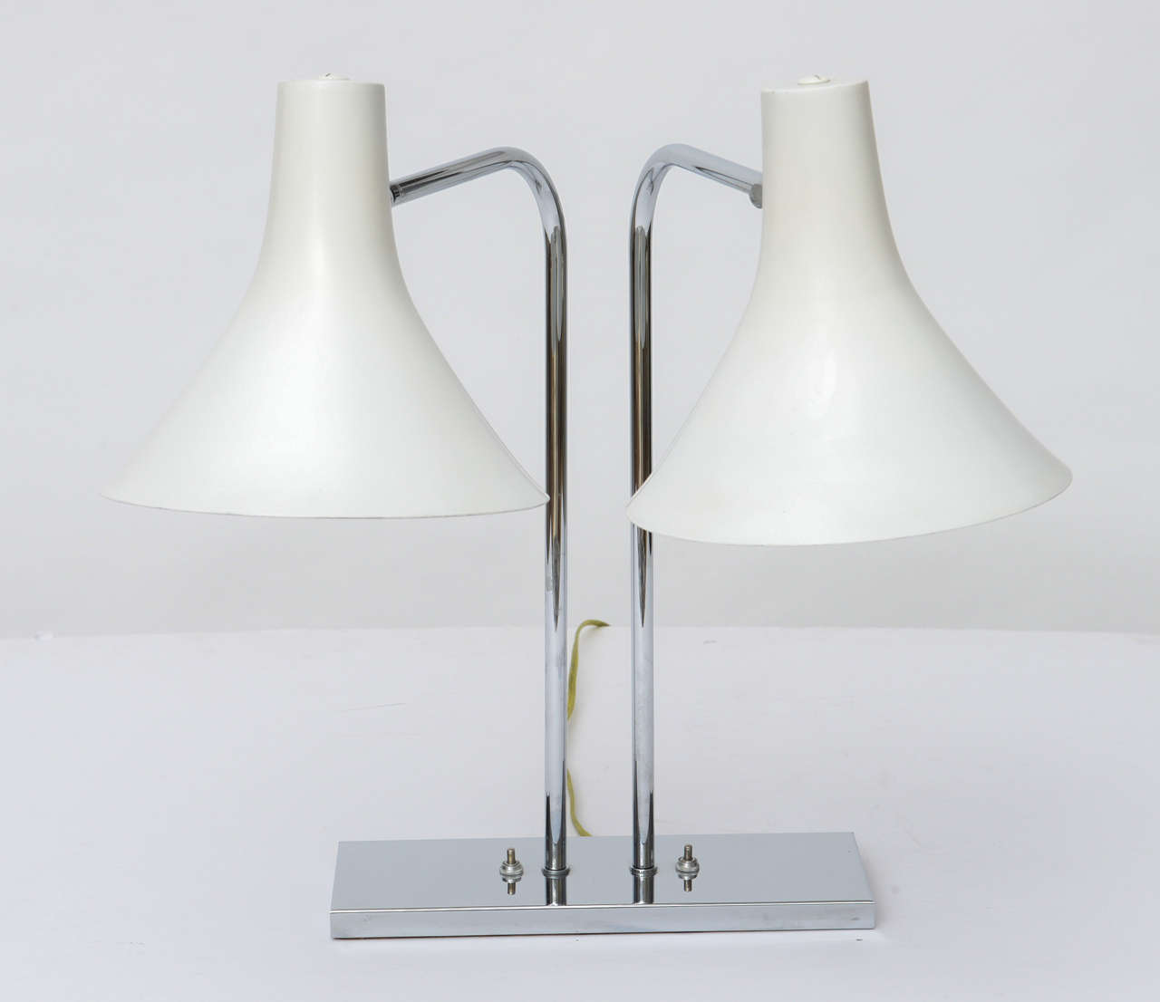 American 1960's Nessen Studios Polished Chrome and White Enamel Double Arm Desk Lamp For Sale