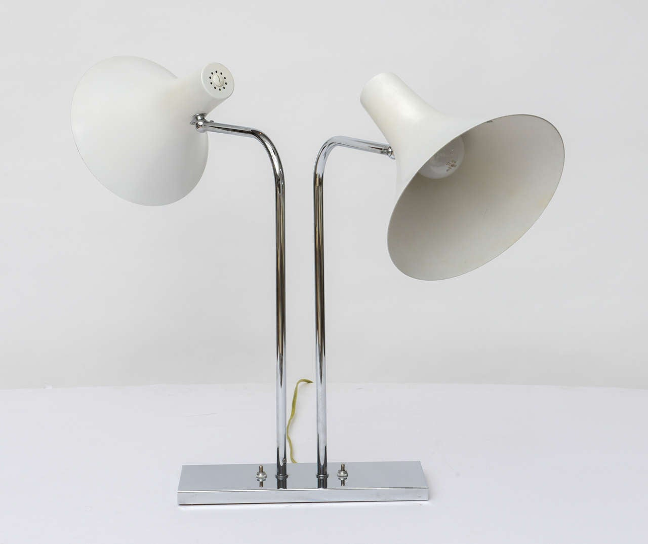Enameled 1960's Nessen Studios Polished Chrome and White Enamel Double Arm Desk Lamp For Sale