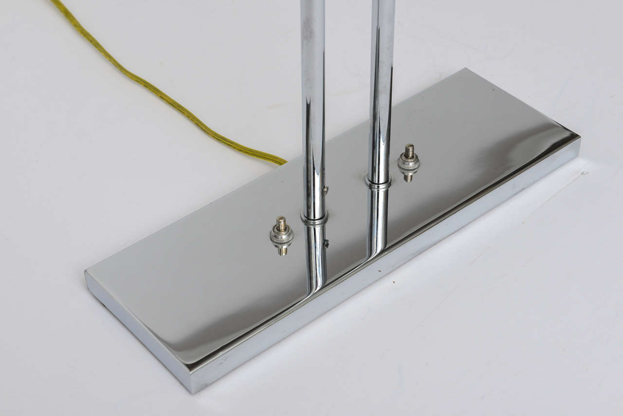 Mid-20th Century 1960's Nessen Studios Polished Chrome and White Enamel Double Arm Desk Lamp For Sale