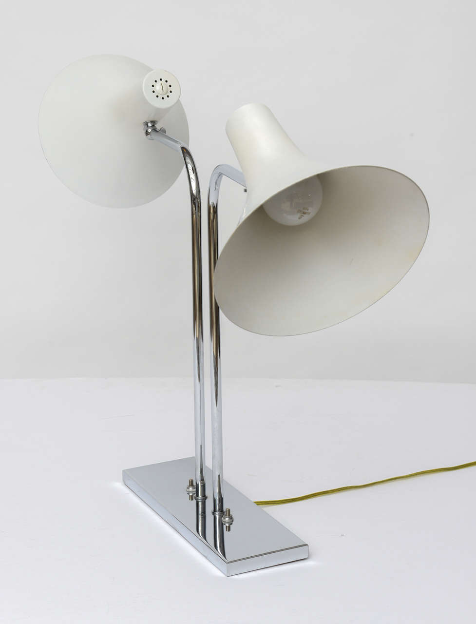 1960's Nessen Studios Polished Chrome and White Enamel Double Arm Desk Lamp For Sale 1