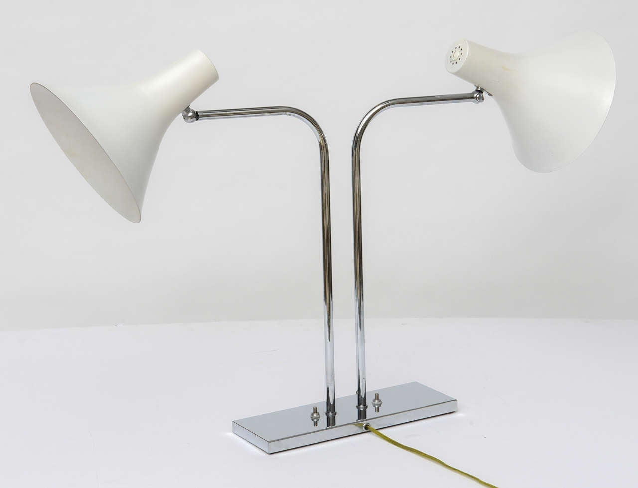 1960's Nessen Studios Polished Chrome and White Enamel Double Arm Desk Lamp For Sale 2