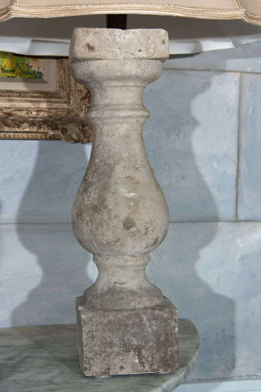 20th Century Pair of Cream Colored English Cast Stone Baluster Lamps For Sale