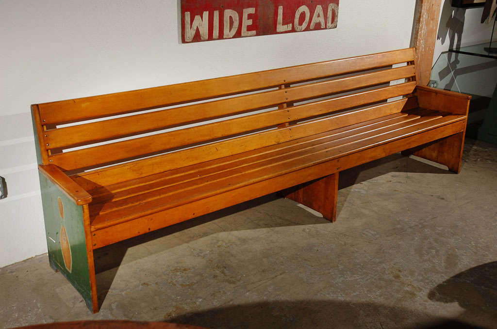 9.5' 1940's American Maple Bowling Alley Bench At 1stdibs