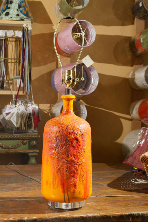 Orange And Red Lava Glass Table Lamp At 1stdibs