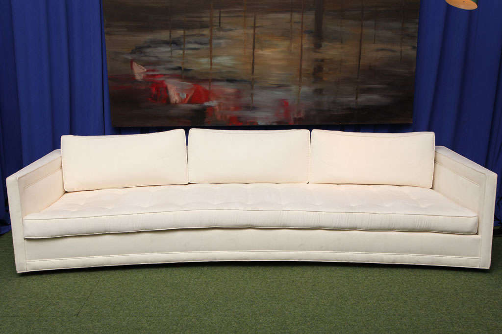 Great form with a soft curve, low and deep seat. This unusual design has a number of details that define many chic, Mid-Century pieces. Lead time is 6-8 weeks. C.O.M. 20 yards.