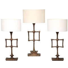 """Grouping of """"Tahoma"""" Bronze Table Lamps by Alexandre Logé"""