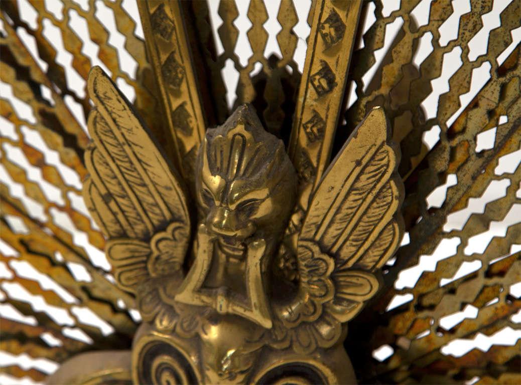 Brass Fireplace Fan Folding Screen At 1stdibs