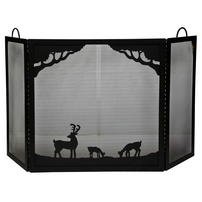 Sheet metal arts and crafts style fireplace screen at 1stdibs for Metal arts and crafts