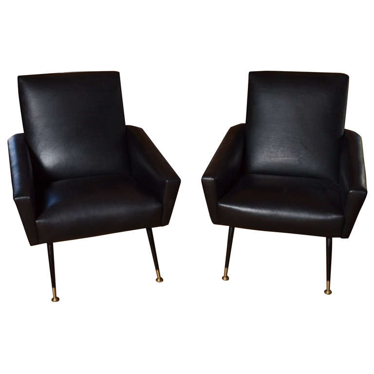Pair of 1960's italian club chairs For Sale