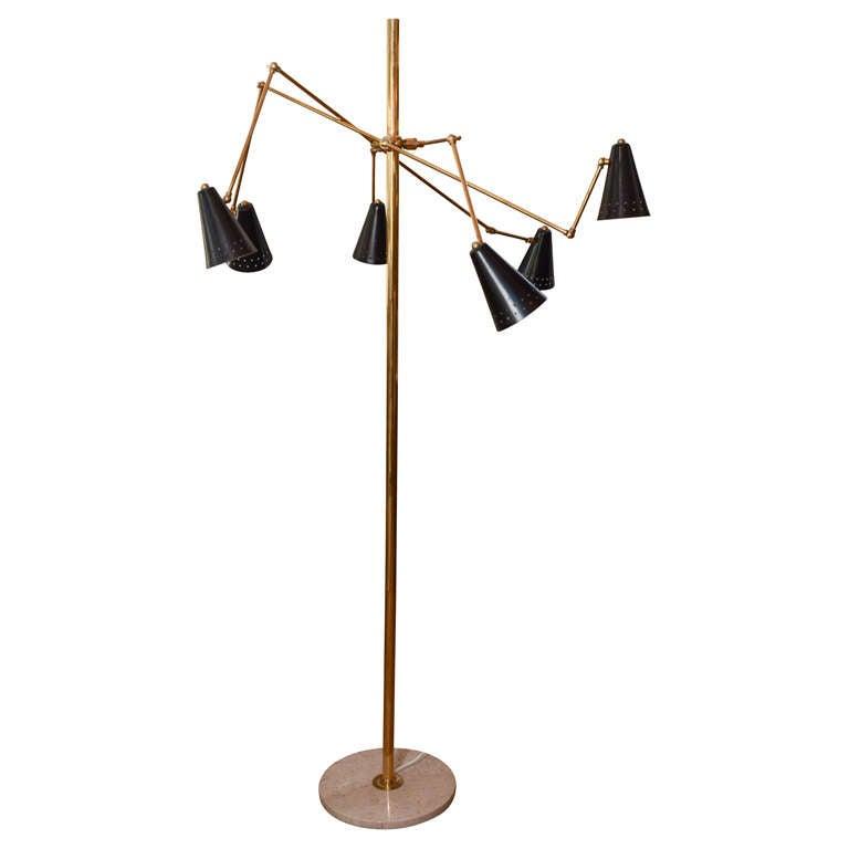 Melrose Mid Century Brass White Shade Floor Lamp: Italian Mid-century Floor Lamp With Black Shades At 1stdibs