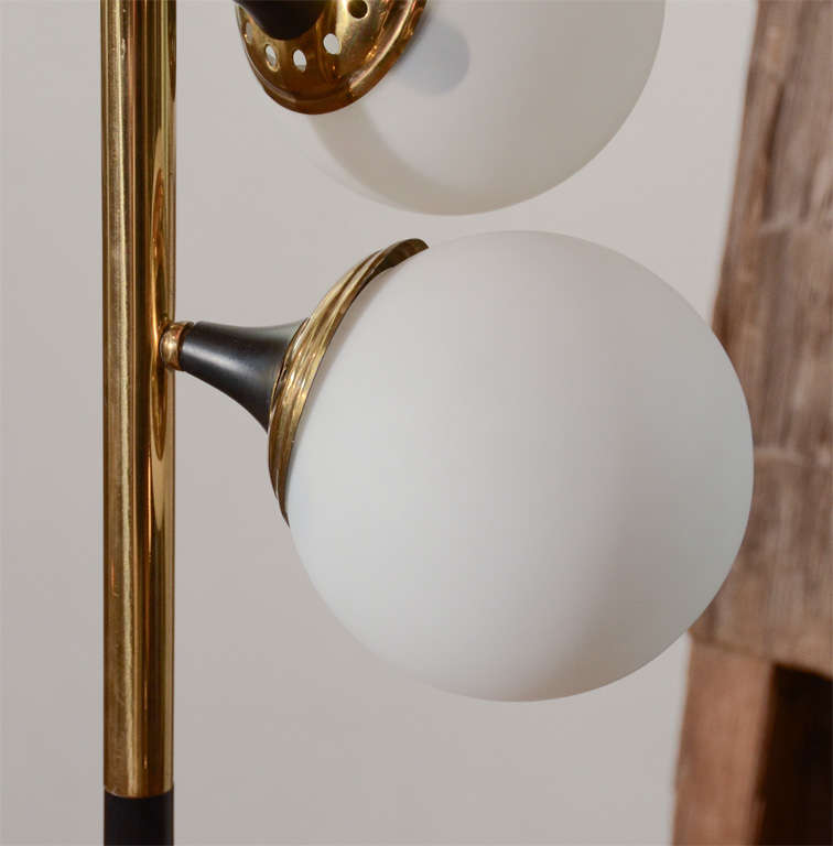 Stilnovo 1950s Floor Lamp with Opaque Glass Globes at 1stdibs