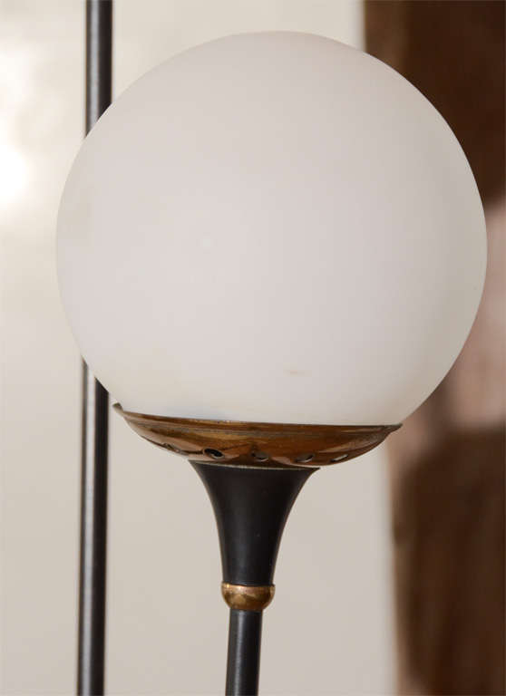 20th Century Italian Stilnovo Mid-Century Floor Lamp with Opaque Globes and marble base For Sale