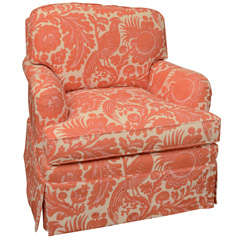 Classic English Style Club Chair in Scalamandre