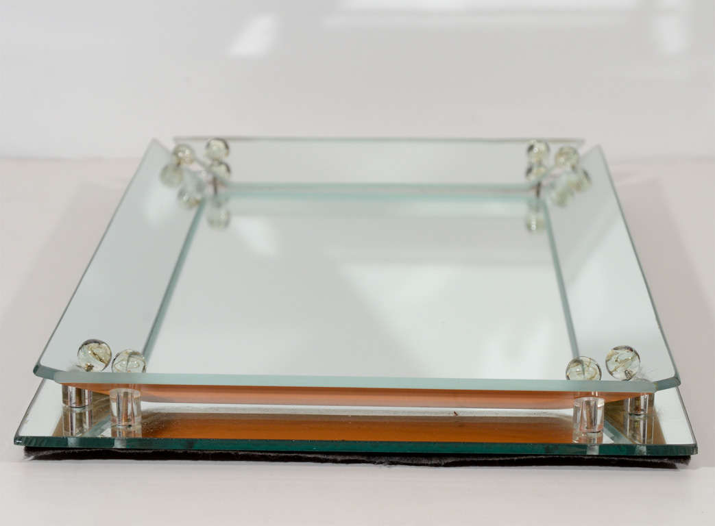 1940 S Hollywood Mirrored Tray With Glass Ball Details At