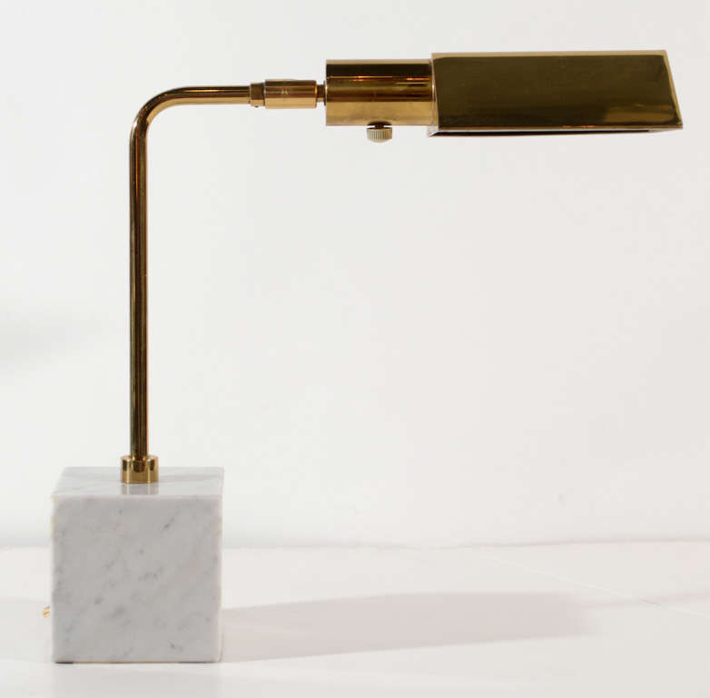 Mid Century Modern Desk Lamp With Stylized Adjule Pyramid Shade In Brass And Dimmer Switch