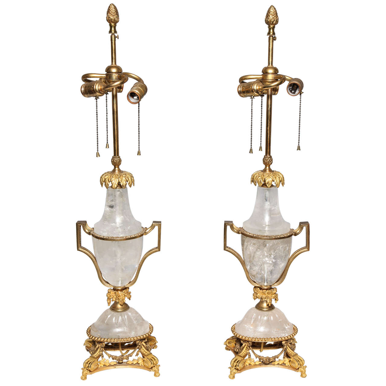 Pair of Unique Antique French Louis XVI Style Gilt Bronze   Rock Crystal  Lamps 1Pair of Unique Antique French Louis XVI Style Gilt Bronze and Rock  . Antique French Lamps On Ebay. Home Design Ideas